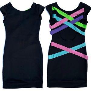 Black Mini Dress Neon Crisscross Back